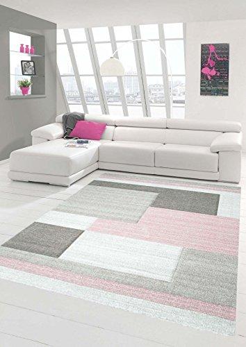 Traum Teppich Designerteppich Moderner Teppich Wohnzimmerteppich Kurzflor Teppich mit Konturenschnitt Karo Muster Pastellfarben Rosa Beige, Größe 120x170 cm