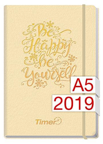 Chäff-Timer Premium A5 Kalender 2019 [Champagner] 12 Monate Jan-Dez 2019 - Gummiband, Einstecktasche - Terminkalender mit Wochenplaner - Organizer - Wochenkalender