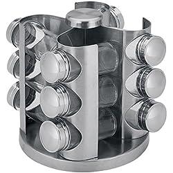 Renberg RB-4250 - Especiero de 13 piezas en acero inoxidable y vidrio con soporte giratorio