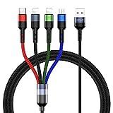 USAMS Multi USB Kabel, 4 in 1 Ladekabel 1.2M für Auto/Büro, Handy Datenkabel Nylon Mehrfach für 2 iP+ USB C+ Micro USB, Universal für XS Max XR X 8 7 6S 6 Plus, Samsung Galaxy Huawei alle Smartphones