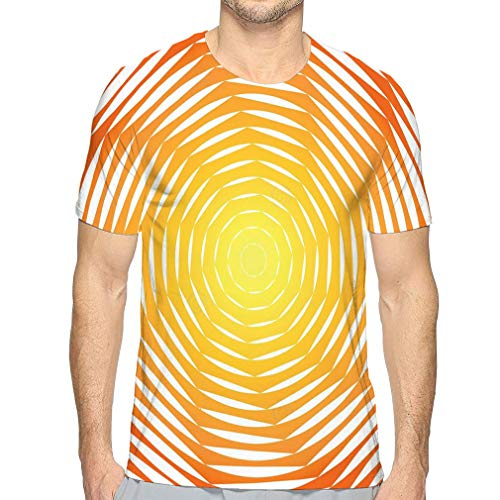 Men's Adult Graphic Tee T-Shirt Design Sunny Swirl Motion Illusion Abstract Strip Torsion Colorful Backdrop Art -