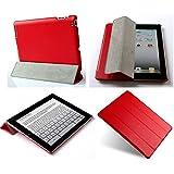 Invision® iPad 2 iPad 3 et iPad 4 Housse Etui Smart Cover - Caractéristiques de Conception Supérieure - Magnétiques Auto Fonction Réveil/Veille - Qualité PU Cuir (iPad 2 3 4 / Rouge)