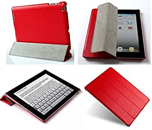 """Invision® iPad 2 iPad 3 & iPad 4 Smart Case Cover, Superior Design Features, Magnetic Auto Wake/Sleep Function, Quality PU Leather, Recommended by """"Which?"""" Magazine (iPad 2 3 4 Red)"""