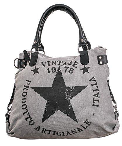 f121abf00b5d8 Damen Handtasche Tasche mit Stern Canvas Tasche Umhängetasche  Schultertasche canvas Henkeltaschen Grau