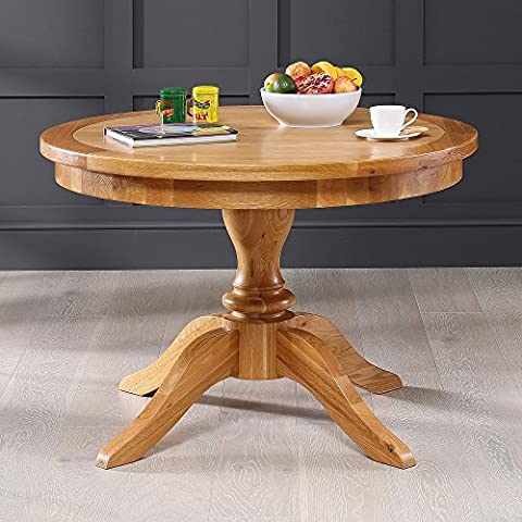 Solid Oak Round 4 Seater Dining Table with Pedestal Base