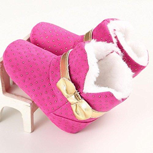 Saingace Bébé Fille Bowknot Belles Bottes de Neige Prewalker Semelle Souple Chaussures de Bébé (11cm(0-6mois), Blanc) Rose chaud
