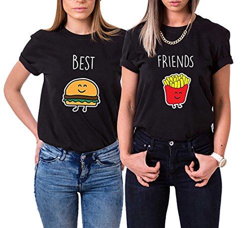 Ziwater Best Friends T-Shirt für 2 Mädchen mit Aufdruck Burger und Pommes Lustige Passende Kurzarm Damen von (Best-M+Friends-XL, Schwarz)