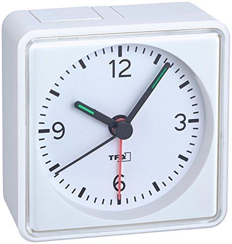 Analoger Lautlos-Wecker TFA 60.1013 Push Sweep-Uhrwerk ohne Ticken (Weiß, mit Batterie)