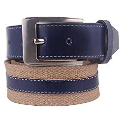 Genuine Leather & Canvas Fusion Beige-Blue Mens Casual Belt By Aditi Wasan (40)