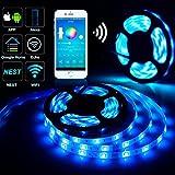 Guaiboshi WIFI Ruban à LED 5M 5050 RGB SMD APP Multicolores Bande Étanche avec Télécommande Lumieuse Kit Pour Android et iOS Système avec Alexa Echo, Google Home, 5 V - 24 V LED bande etc
