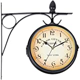 Ridgeyard Double Sided Home Indoor Outdoor Garden Station Wall Clock Outside  Bracket Barometer (Black)