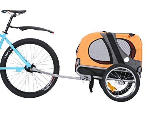 Leonpets Haustier Fahrradanhänger Hundewagen Transporter mit Universalkupplung Orange 10115
