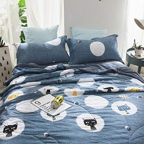 HUILIN Solid Color Summer Quilt Bedding Thin Throws Light Weight Air Conditioning Quilting Comforter Blankets,Blue,one Piece,150cmX200cm