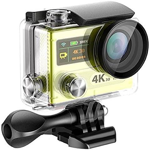 Topjoy H8R 2.0 Pulgadas LCD + 0.95 'Sony IMX078 LED Doble Pantalla 4K Ultra HD 16MP WIFI Cámara Impermeable de Deportes 170 Grado 6G Ultra Wide Angle Lens Wi - Fi con control remoto + Control remoto extra (Amarillo)