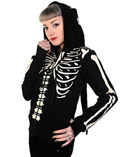 Banned Damen Gothic Kapuzenjacke / Elfenjacke Skelett - Skeleton Zipper Hoodie Glow-In-The-Dark (M) (Skelett Hoodie Für Frauen)