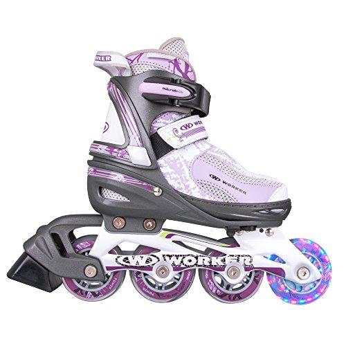 WORKER Perleta LED Inline-Skates Inliner mit leuchtenden Rollen größenverstellbar 31-34