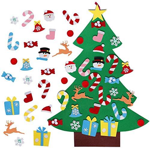Aparty4u 3ft Feltro Albero di Natale con 26 Staccabili Ornamenti, DIY Regali di Natale di Nuovo Anno per la Decorazione della Parete del Portello dei Bamb
