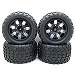 12mm Hub Wheel Rim & Tires 1/10 Off-Road RC Car Buggy Tyre w/Foam Inserts Black Pack of 4