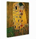 LaMAGLIERIA FINE Art - Klimt Il Bacio - Quadro in Tela Canvas Pronto da Appendere, 50cmx70cm