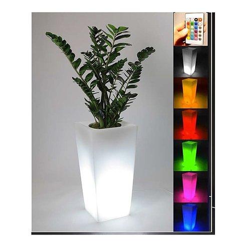 Jarrón Luminoso Multicolor Cuadrado, Maceta de resina iluminado, macetas luminosas, jarrón iluminado