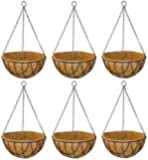GARDEN KING - 10 INCH Coir Hanging Basket-with Chain - Designer Coir Hanging Flower Plant Container for Indoor and Outdoor (Set of 6 PCS, 10 INCH)