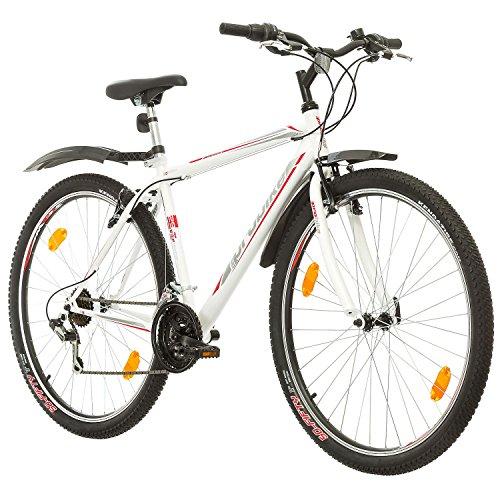 Multibrand, PROBIKE PRO 29, 29 pollici, 483mm, Mountain bike, Unisex, 21 velocità Shimano (Bianco/Grigio-Rosso – grigio)