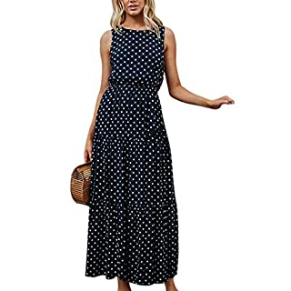 Ai.Moichien Women Vintage 90s Polka Dot Print Sleeveless Plested Maxi Dress Dark Blue S