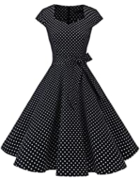 Dresstells Damen Vintage 50er Cap Sleeves Rockabilly Swing Kleider Retro Hepburn Stil Cocktailkleid