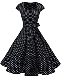 Dresstells Vintage 50er Swing Party kleider Cap Sleeves Rockabilly Retro Hepburn Cocktailkleider Black Small White Dot M