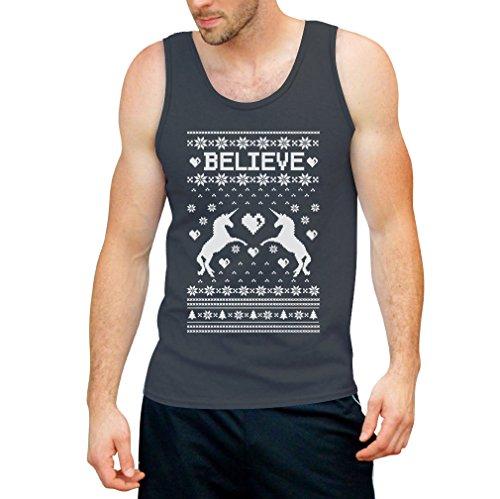 Believe in Unicorns / Einhörner - Ugly Christmas Sweater / Weihnachtspullover Sweater Tank Top - Lustige Weihnachtsmode Dunkelgrau
