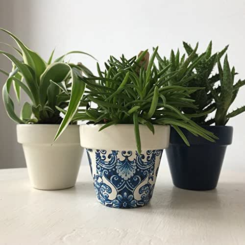 Blue White Damask Mini Terracotta Pots Set of 3