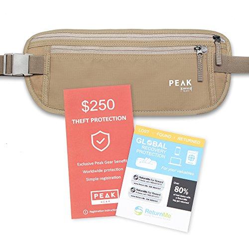 Cinturón de dinero con el bloque de RFID incorporado - incluye protección contra el robo y Global de recuperación de etiquetas de viaje