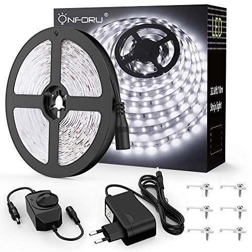Onforu 10M Tiras LED Cadenas de Luz 600 LEDs Strip 2835 SMD Cinta, Blanco Frío 5000K Decoración Iluminación Ambiental Interior Flexible No-Impermeable Conjunto con Interruptor y adaptador para Fiesta