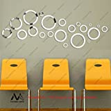 Naveed Arts - Acrylic 3D Wall Décor for Home and Office - 21 Mirror Rings +12 pcs Free - JB091M - Naveed Arts Factory Outlet