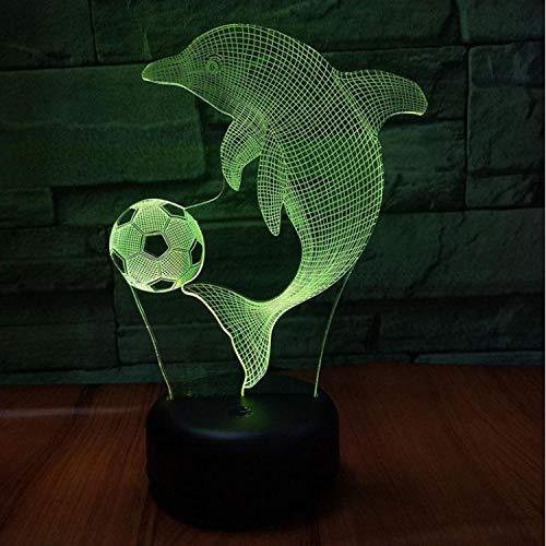 Optische Täuschungslampe Buntes Nachtlicht Delphin-Auto 3D Vision Nightlight Kreative Bunte 7 Farbwechsel Usb Kinder Spielzeug 3D Licht (Led-lampe 3497)
