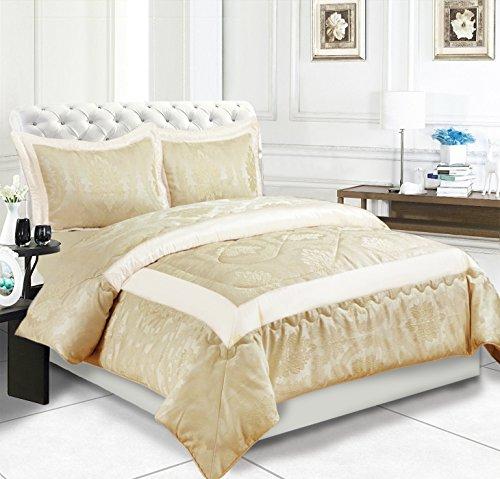Supreme Bedding 3 Stück Tagesdecke, Bettwäsche-Set, Tagesdecke Super Weichem Jacquard Gesteppt Tröster Set mit 2 Passenden kissenrollen, B Cream, Doppelbett (Hotel-bettwäsche-kollektion)