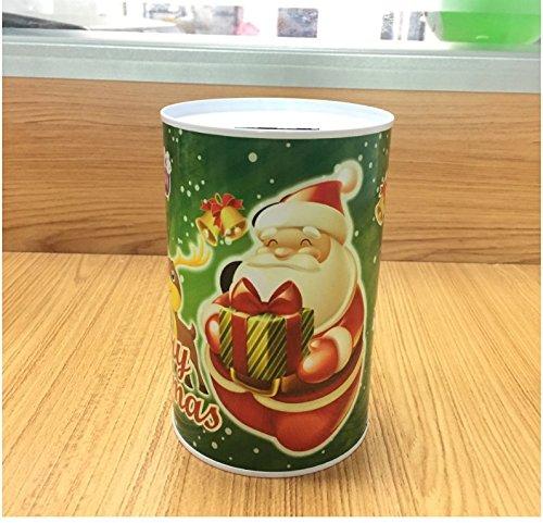 Schöne süße Geldbank Weihnachten Geld Bank Zylindrische Weißblech Kann Piggy Bank (Green Santa Claus)