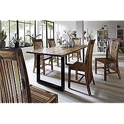 SAM® Elegante mesa de comedor Ida de madera de acacia, patas lacadas, de hierro fundido, estilo natural, mesa con forma de árbol (160 x 85 cm)