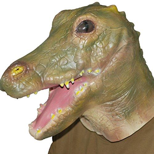 Krokodil Kopf Kostüm - Jitong Latex Tier Kopf Maske für