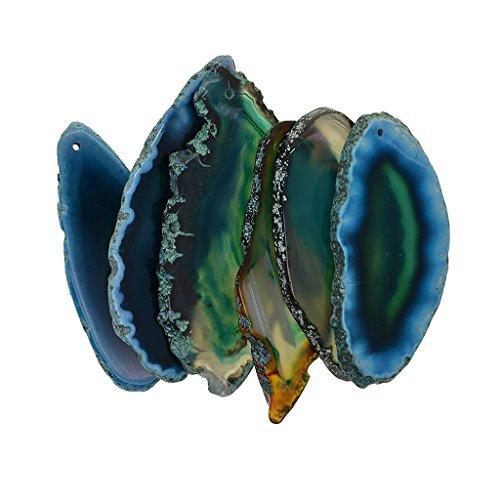 Perfk 6 pezzi naturali agata geode lucido cristallo irregolare fetta di pietra ciondolo di quarzo per fare a mano gioielli regalo decorazioni per la casa, 1.5mm foro perforato - verde
