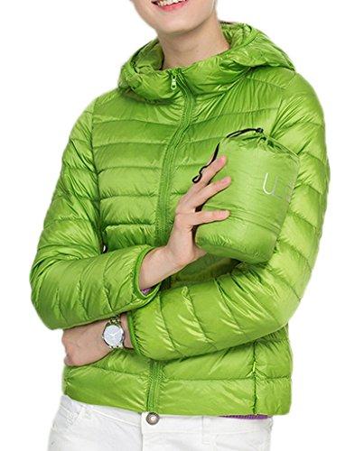 Smile YKK Kälteschutz 90% Entendaunen Leicht Daunenjacken Sweatjacke Daunen Outdoor Jacke Steppjacke Mit Kapuzen Reißvrschluss Hellgrün