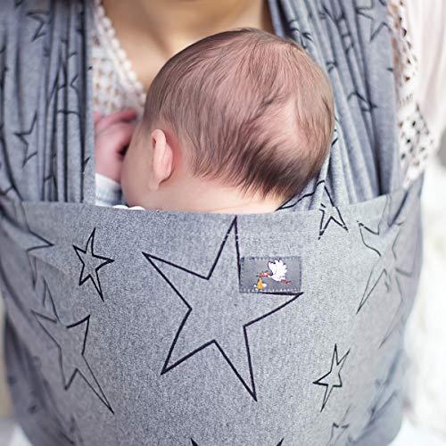 HOPPEDIZ elastisches Tragetuch für Früh- und Neugeborene, inkl. Trageanleitung, 4,60m x 0,50m, Anthrazit - 5