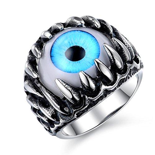 iLove EU Edelstahl Ring Silber Schwarz Blau Weiß Totenkopf Schädel Drachen Klaue Böse Evil Teufel...