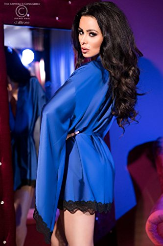Elegante Damen Dessous Robe Morgenmantel und String in blau schwarz aus Satin und Spitze langarm Blau