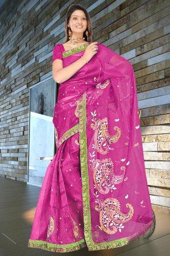 Dark rani pink resham woven embroidered super net sarees