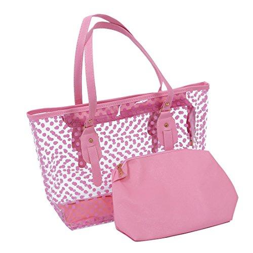 Wasserdichte Strandtasche - SODIAL(R) Damen Punkte Muster Transparent Reissverschluss Panel Design Tragetasche mit Tasche - Blau, Einheitsgroesse Rosa