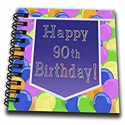 3dRose db_173072_3 Balloons with Purple Banner Happy 90Th Birthday Mini Notepad, 4 by 4