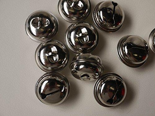10x Glöckchen Glocke 32mm Schellen mit Öse (Silber)
