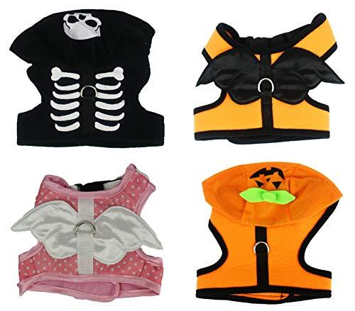 Black Duck Brand Halloween-Kostüm, Schwarze Ente Passend für 15,2 cm bis 22,9 cm - Kürbis, Engel, Skelett, Small, Set of All, 4 Costumes