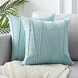 Topfinel 2 Juegos Hogar Cojín Terciopelo Suave Decorativa Almohadas Fundas de Color Sólido para Sala de Estar sofás 40x40cm Azul